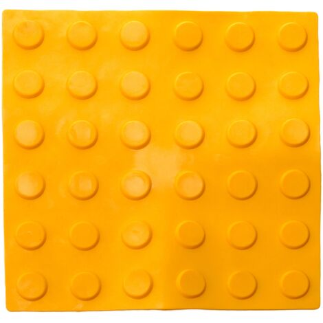 PrimeMatik - Tactile paving floor tile for blind people 30x30cm with circles of stop and alert yellow 10-pack