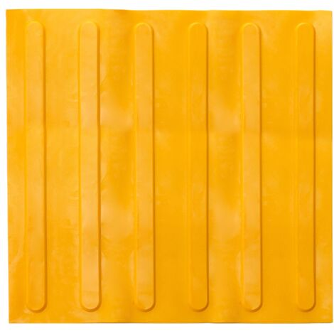 PrimeMatik - Tactile paving floor tile for blind people 40x40cm with advance lines yellow 10-pack