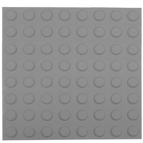 PrimeMatik - Tactile paving floor tile for blind people 40x40cm with circles of stop and alert gray 10-pack