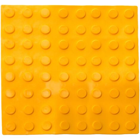 PrimeMatik - Tactile paving floor tile for blind people 40x40cm with circles of stop and alert yellow 10-pack
