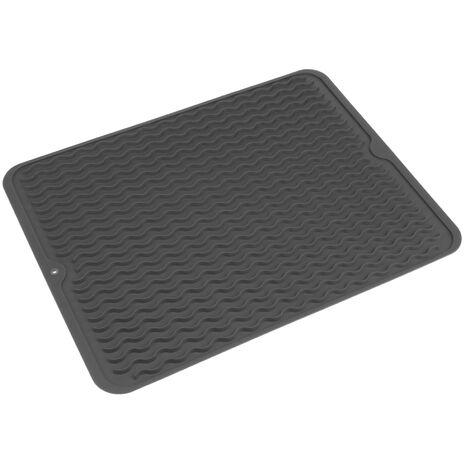 PrimeMatik - Tapis de séchage vaisselle en Silicone 405x307 mm gris