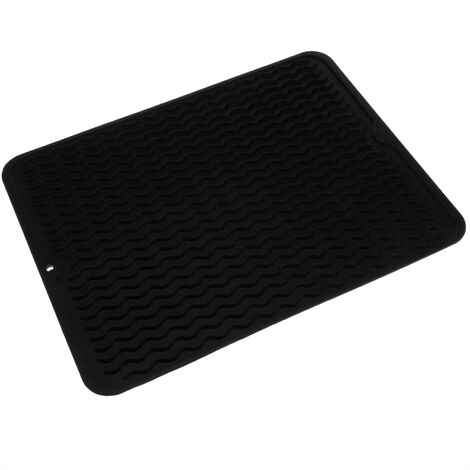 PrimeMatik - Tapis de séchage vaisselle en Silicone 405x307 mm noir