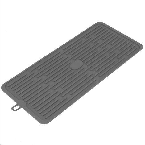 PrimeMatik - Tapis de séchage vaisselle en Silicone 446x203 mm gris
