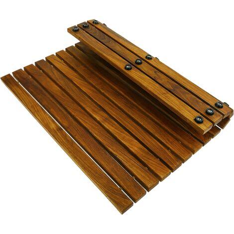 PrimeMatik - Tarima para ducha y baño cuadrada y enrollable 50 x 50 cm de madera de teca certificada
