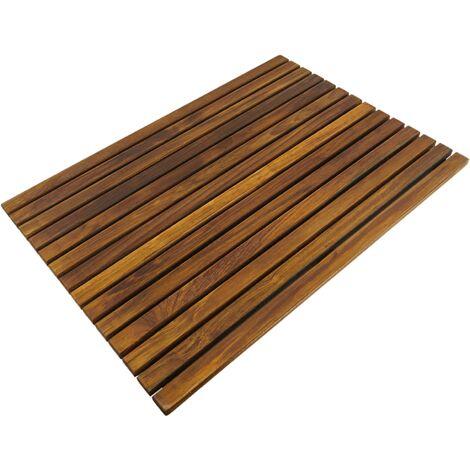 PrimeMatik - Tarima para ducha y baño rectangular 70 x 50 cm de madera de teca certificada