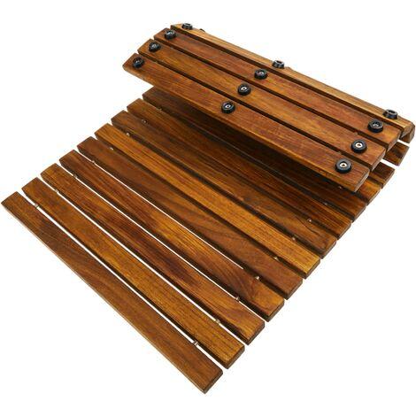 PrimeMatik - Tarima para ducha y baño rectangular y enrollable 60 x 40 cm de madera de teca certificada