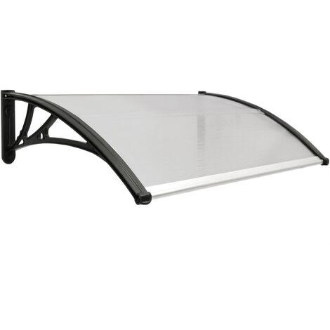 PrimeMatik - Tejadillo de protección 100x60 cm gris oscuro. Marquesina para puertas y ventanas con soporte negro