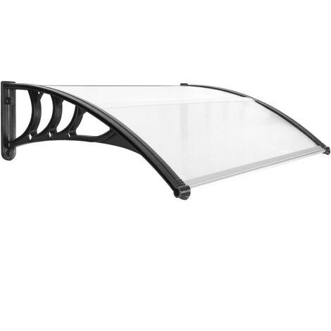 PrimeMatik - Tejadillo de protección 100x80cm Marquesina para puertas y ventanas negro