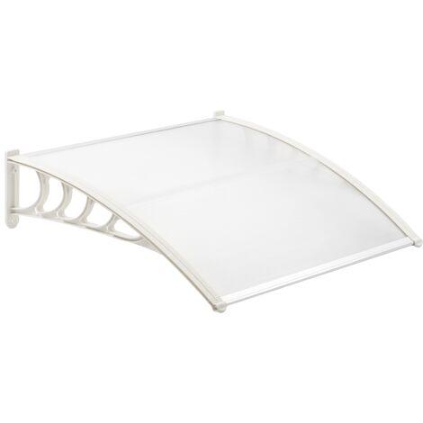 PrimeMatik - Tejadillo de protección 120x90 cm transparente. Marquesina para puertas y ventanas con soporte blanco