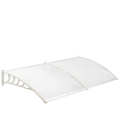 PrimeMatik - Tejadillo de protección 200x90 cm transparente. Marquesina para puertas y ventanas con soporte blanco
