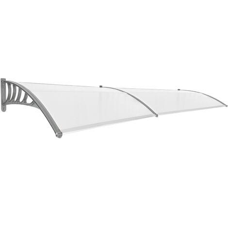 PrimeMatik - Tejadillo de protección 300x90cm Marquesina para puertas y ventanas gris