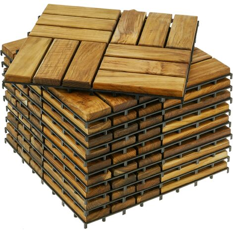 PrimeMatik - Tiles 30 x 30 cm 12 slats Certified Teak Interlocking Wood 10 units
