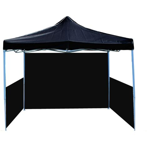 PrimeMatik - Tonnelle pliante tente noir 300x450cm avec des tissus latéraux