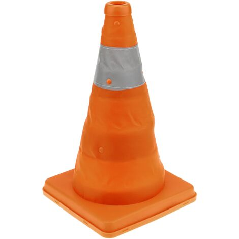 PrimeMatik - Traffic cone with signaling reflector and 32 cm folding beacon