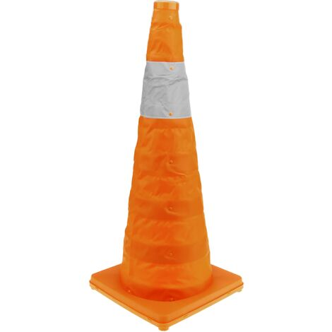 PrimeMatik - Traffic cone with signaling reflector and beacon 70 cm foldable