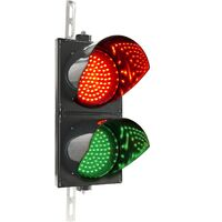 PrimeMatik - Traffic light for indoor and outdoor IP65 black 2 x 200mm 220V with green and red LED light