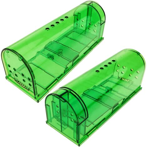 PrimeMatik - Trampa para ratas ratones roedores jaula de plástico pack de 2 unidades 60 x 170 x 64 mm
