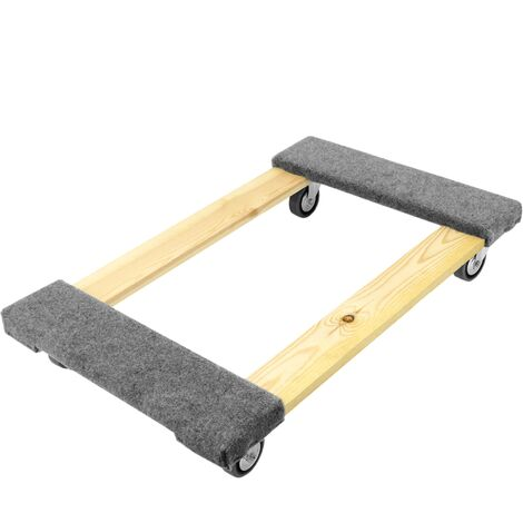 PrimeMatik - Transport roller platform dolly with wheels and padded 77 x 48 cm