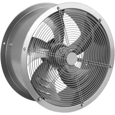 PrimeMatik - Tube Exhaust Fan 400mm for Industrial Ventilation 1360 rpm Round 470x470x210 mm Silver