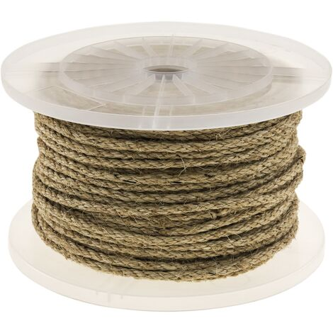 PrimeMatik - Twisted sisal rope 3 strands 100 m x 6 mm natural