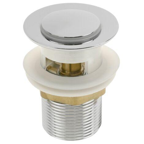 PrimeMatik - Válvula de desagüe 8cm con rebosadero. Tapón para lavabo y baño universal G1-1/4 cromado