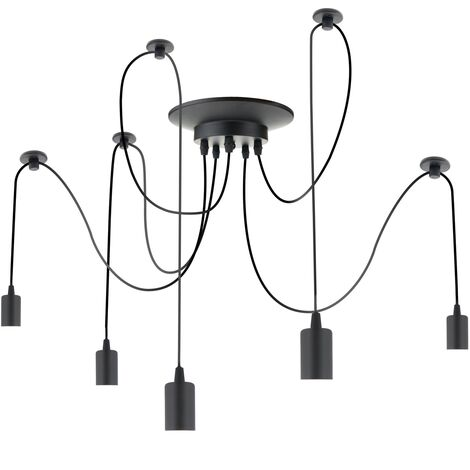 PrimeMatik - Vintage lamp for 5 E27 screw bulbs with 3m cable.