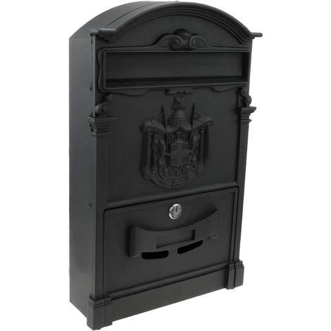 PrimeMatik - Vintage letter mail post box mailbox letterbox antique metallic black color for wallmount