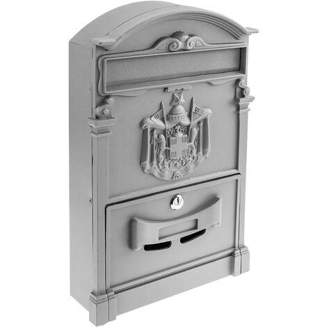 PrimeMatik - Vintage letter mail post box mailbox letterbox antique metallic gray color for wallmount