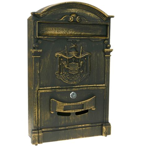 PrimeMatik - Vintage letter mail post box mailbox letterbox antique metallic oxide color for wallmount