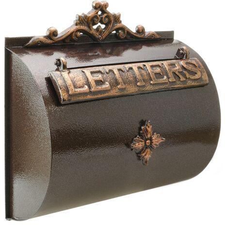 PrimeMatik - Vintage letter mail post box mailbox letterbox antique oxide color cast iron for wallmount