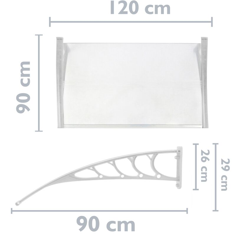 PrimeMatik Pultvordach Vordach T/ürdach /Überdachung schwarz 120x90cm