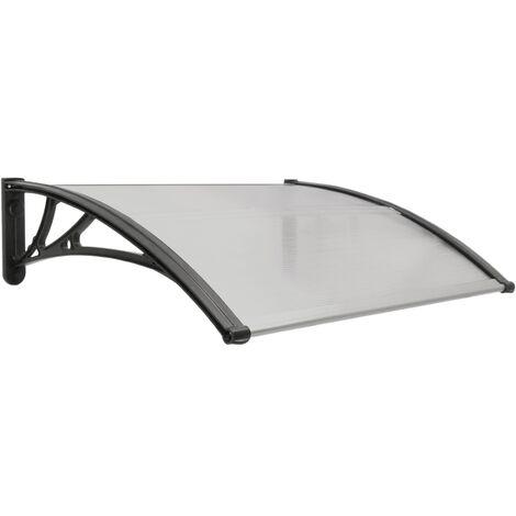 PrimeMatik - Vordach 80x60 cm dunkelgrau. Türdach Überdachung mit schwarzer Auflage