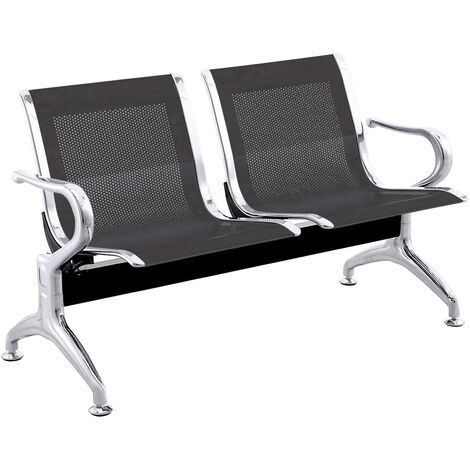 PrimeMatik - Waiting room bench chair with 2 ergonomic seat black
