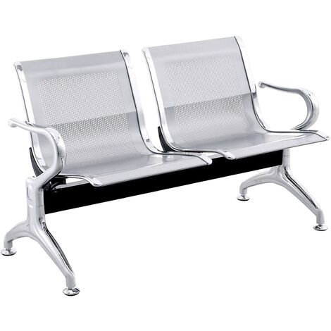PrimeMatik - Waiting room bench chair with 2 ergonomic seat silvery