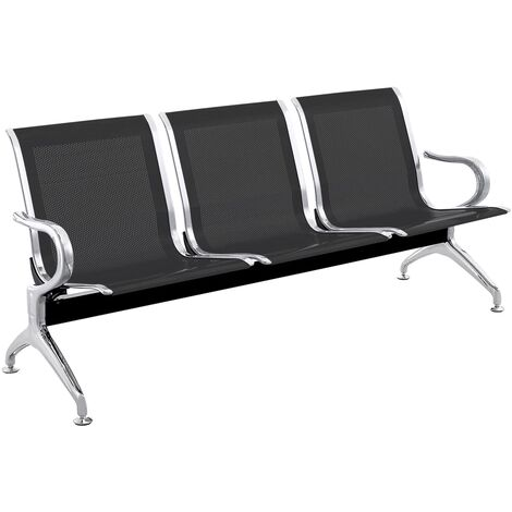 PrimeMatik - Waiting room bench chair with 3 ergonomic seat black