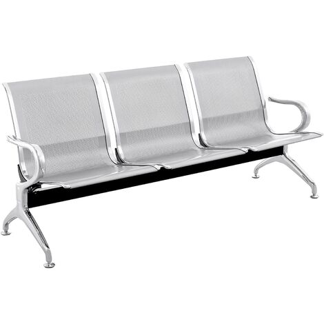 PrimeMatik - Waiting room bench chair with 3 ergonomic seat silvery