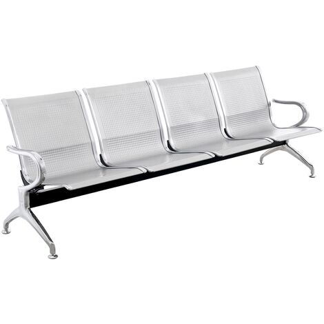 PrimeMatik - Waiting room bench chair with 4 ergonomic seat silvery