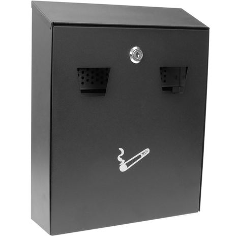 PrimeMatik - Wall mounted ashtray for outdoor of black metal 258 x 77 x 320 mm