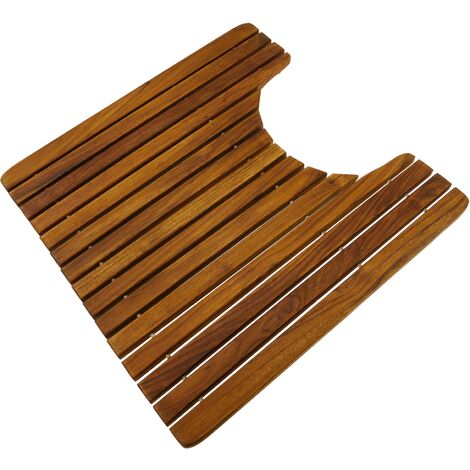 PrimeMatik - WC and bathroom mat 51 x 51 cm square. Certified teak wooden platform
