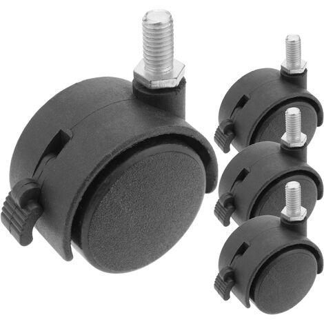 PrimeMatik - Wheel swivel castor of nylon with brake 40 mm M8 4 pack