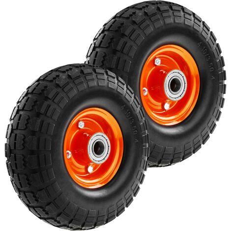 "PrimeMatik - Wheelbarrow solid wheel 2-pack 265 lbs 10x3.5"" 254x89 mm. Replacement tyre for transport platform"