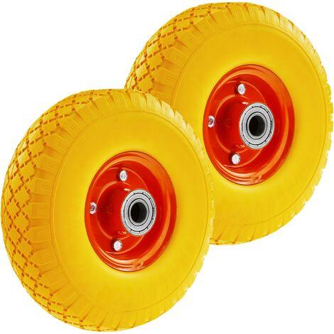 "PrimeMatik - Wheelbarrow solid wheel yellow 2-pack 220 lbs 10x3"" 254x76 mm. Replacement tyre for transport platform"