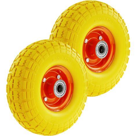 "PrimeMatik - Wheelbarrow solid wheel yellow 2-pack 265 lbs 10x3.5"" 254x89 mm. Replacement tyre for transport platform"
