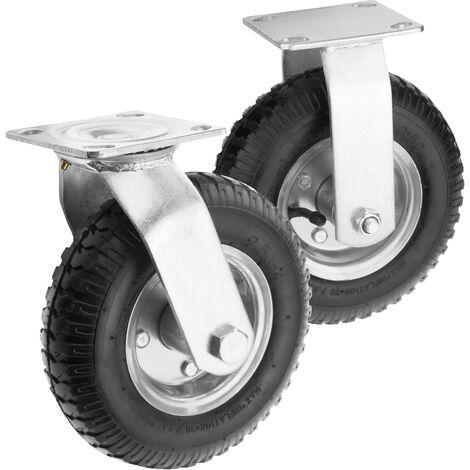 "PrimeMatik - Wheelbarrow wheel 4-pack 200 lbs 8x2.5"" 203x64 mm. Replacement tyre for transport platform"