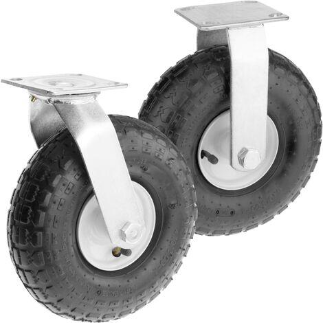 "PrimeMatik - Wheelbarrow wheel 4-pack 300 lbs 10x3,5"" 254x89 mm. Replacement tyre for transport platform"
