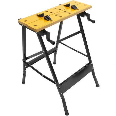 PrimeMatik - Work bench with adjustable clamps. Folding portable workmate table for DIY. 100 Kg