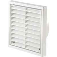 """Primero FFG100WH 4"""" White Fixed Louvre Wall Grille"""