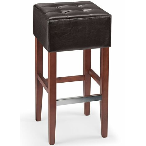 Primo Bar Stool Brown Real Bonded Leather Padded Seat With Walnut Frame Brown
