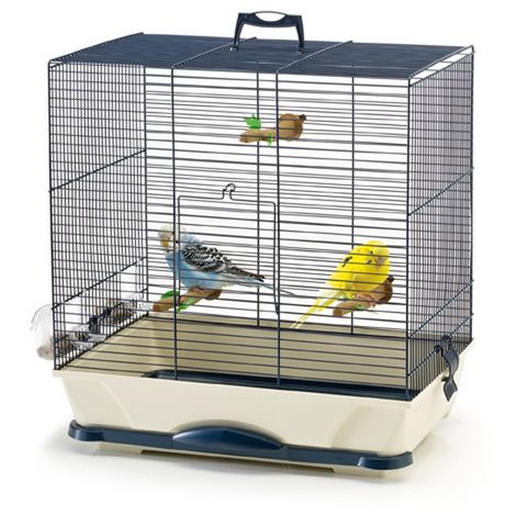 Primo Rectangular Bird Cage (46 x 32 x 48cm) (Navy Blue)