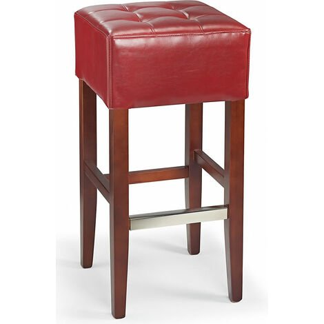 Primo Wooden Bar Stool Real Bonded Quality Red Leather Padded Seat With Walnut Frame Red Leather